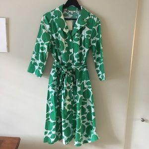 Boden Riviera Shirt Dress Kelly Green Fruit Print